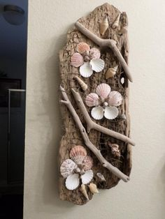 Amazing Driftwood Sculpture - Ocean Themed Wall Art - Beautiful Driftwood and Shell Art Sculpture - One-of-a-Kind! Beautiful decorative driftwood and shells wall art sculpture. This one-of-a-kind ocean themed wall decor is b Seashell Art, Seashell Crafts, Beach Crafts, Diy And Crafts, Tree Crafts, Driftwood Sculpture, Driftwood Art, Sculpture Art, Ribbon Sculpture