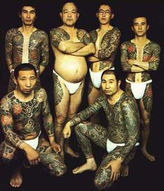 Irezumi full body tattoos - people usually claim these men are yakuza but I can't find any evidence of weather they are or aren't.