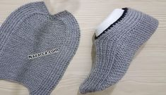 50 Loop Starts Beenden Sie in 10 Minuten Booties Modell Diy Knitting Slippers, Crochet Slippers, Baby Knitting, Crochet Baby, Knit Crochet, Gestrickte Booties, Knitted Booties, Knitted Hats, Knitting Patterns