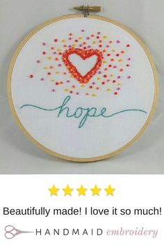 What's your word for 2016? You can have it hand embroidered on a hoop to remind you as you leave the house, go to bed at night, or when you need a little inspiration. See more at Handmaid Embroidery!