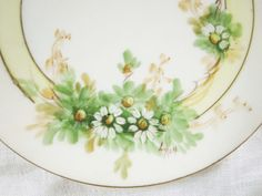 Hand-Painted Porcelain Plate With Signature - Dessert Plate - Fun White Daisy Design - Bavarian UNO-It 'Favorite' Studio Painted on Etsy, $21.00