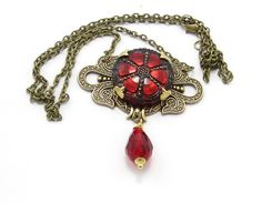 Red Celtic Necklace Medival Inspired Czech Button by GlobalBrights
