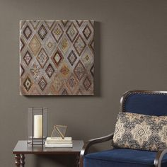 Be Dazzled Metallic Canvas with Beads Embellishment - Madison Park Madison Park Be Dazzled Metallic Canvas with Bead Embellishments introduces a touch of glam to your home decor. This metallic canvas features a geometric diamond pattern with