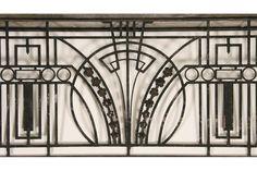 Art Deco wrought iron balcony panel with returns circa - Kamelot Auction House Motif Art Deco, Art Deco Pattern, Art Deco Era, Art Deco Design, Art Nouveau, Grill Gate Design, Railing Design, Stair Art, Balustrades