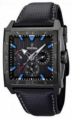 (Limited Supply) Click Image Above: Festina Mens Multifunction Stainless Watch - Black Leather Strap - Black Dial - F16569-2