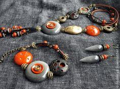 "Olga Ledneva - Handmade jewelry sets.  Fair Masters - handmade from polymer clay kit based on the work ""Grand Canyon.""  Handmade."