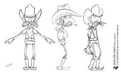 Digital Rebel Art School: cartoon for animation - Old cowboy concept. Character Reference Sheet, Character Model Sheet, Character Sketches, Character Design Animation, Character Modeling, Character Design References, Character Drawing, 3d Modeling, Male Character