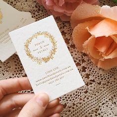 Like the foiled wreath illustration Stamped Business Cards, Foil Business Cards, Gold Business Card, Letterpress Business Cards, Business Logo, Business Card Design, Stationery Design, Branding Design, Flower Shop Decor