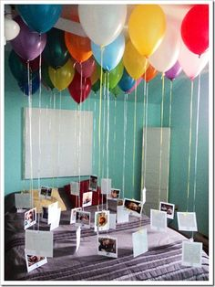 birthday or anniversary idea. SO cute. Tie pics to ribbon and dangle from balloon. Our anniversary judt passed and we didn't get to do much. Wish I thought of this just for a fun home dinner date idea!