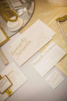 Leonardo e Arianna wedding raffinato con glitter e oro - carta favini majestic #wedding #stationery #gold #glitter #favini #majestic