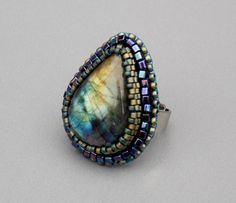 Bead Embroidery  ring,  Beadwork,  Seed beads jewelry,  Fashionable ring,  Labradorite,  Blue,  Patina by vicus. Explore more products on http://vicus.etsy.com