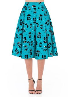 Inked Boutique - Cats In The Rain Flare Skirt  Retro Vintage Rockabilly Kitschy www.inkedboutique.com