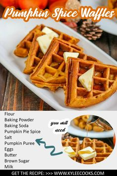 Using just 2 bowls, make these homemade Pumpkin Spice Waffles a part of your Fall breakfast tradition. With warm spices and yummy pumpkin they're a must make! Fall Breakfast, Quick And Easy Breakfast, Best Breakfast Recipes, Pumpkin Pie Recipes, Fall Recipes, Holiday Recipes, Great Recipes, Vegan Recipes, Cooking Recipes