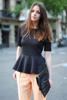 black short sleeve peplum top + pastel pants