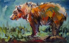 BEAR STARE WILDLIFE OIL PAINTING BY DIANE WHITEHEAD FINE ART, painting by artist Diane Whitehead