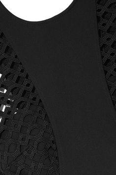 Self-Portrait | Guipure lace-paneled cutout crepe jumpsuit | NET-A-PORTER.COM