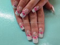 White+tips+with+freehand+rose+nail+art