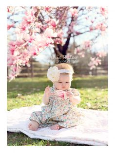 spring portrait mini sessions with beautiful cherry tree blooms and magnolia tree blooms -- West - Motherhood & Child Photos Spring Family Pictures, Easter Pictures, Spring Photos, Baby Pictures, Family Pics, 6 Month Pictures, Baby Girl Photography, Spring Photography, Baby Kalender