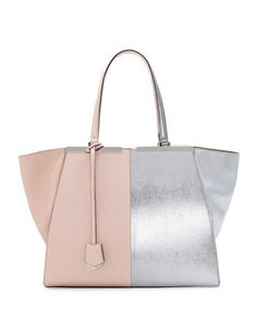 Fendi Trois-Jour Grande Leather Tote Bag, Pink/Silver