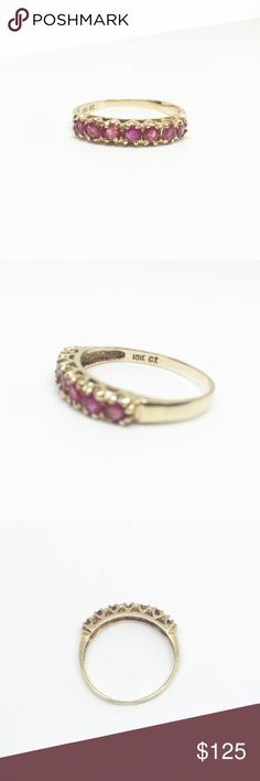 10k Yellow Gold Natural Ruby Ring Gorgeous 10k yellow gold ring with 7 rich natural rubies size 7. A beautiful piece and comes in a ring box.  If you have any questions feel free to ask and be sure to check out my other jewelry listings. Jewelry Rings