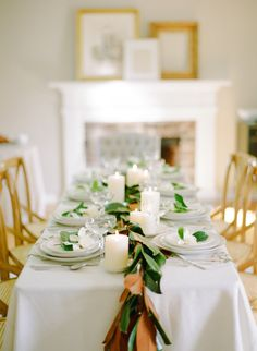 A magnolia leaf table runner.