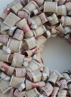 halbachblog I DIY-Idee I Advent I Tür- oder Wandkranz aus Bandschlaufen