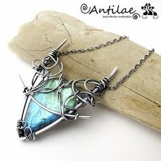 Sturi  labradorite silver wire wrapping necklace by Antilae