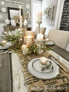 ~rooms FOR rent~: Mercury Glass Thanksgiving Tablescapes Christmas Dining Table, Fall Table, Dining Room Table, Winter Table, Thanksgiving Centerpieces, Table Centerpieces For Home, Holiday Tablescape, Rustic Thanksgiving, Candle Centerpieces