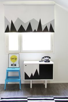 DIY: Rullaverhon Tuunaus.  With our upcoming range of custom printed blinds and decals, we can create this look for you www.belladonnadi.com.au