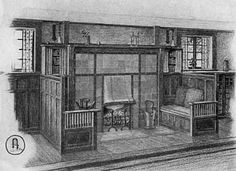 Living Room with Fireplace.  Chimneypiece and fireside seats in a typical craftsman living room. The chimneypiece is paneled with dull finished grubby tiles banded with wrought iron held in place by copper rivets. The fireplace hood is of copper and the paneling of seats and wainscot is in fumed oak.
