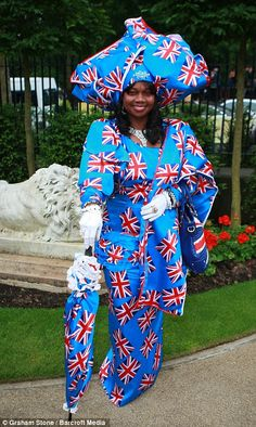 Beautiful Black British race goer, Genie Williams of West Midlands, on Ladies Day, Royal Ascot, 2013. Sister can wear the Union Jack flag attire! What a hat, dress and purse!