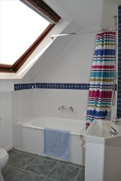 New shower curtain really brightens up the place Home Improvement, Dairy, Bathtub, Cottage, Curtains, Colour, Fresh, Shower, Bathroom