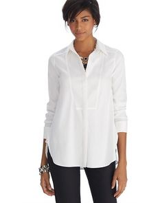 1b435793c6c6e8 White House | Black Market Iconic Starlet Bib Front Notch Collar White Shirt  #whbm Black