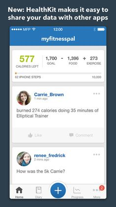 My Fitness Pal visceral: a bit plain professional look but has good information hierarchy. behavioral: log food and exercise. lots of different combinations, gets confusing but can be learnt reflective: values of health and fitness Health And Fitness Apps, My Fitness Pal, Health App, Diet Tracker, Elliptical Trainer, Calorie Counter, Fitness Photos, Best Apps, Fun Workouts