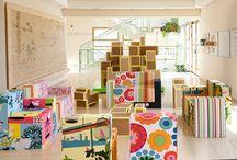Cardboard box indoor playscape and modular furniture