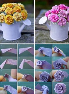 tuto origami facile pour créer un modèle d'origami rose féerique, une déco de table féerique et romantique en bouquet de roses en papier