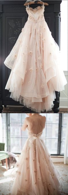 Fairy tale style tulle prom dress,backless applique party dress, gentle long evening dress M0688