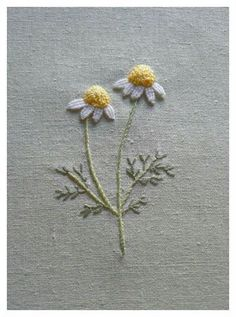 embroidery, flowers, chamomile #handembroidery