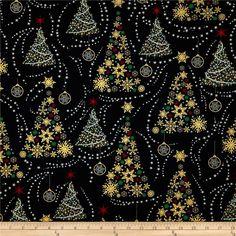 Golden Christmas Metallic Trees Black