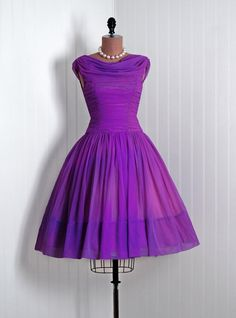 1950's Vintage Royal-Purple Ruched Chiffon-Couture Draped Sleeveless Ballerina-Cupcake Rockabilly Full Circle-Skirt Back-Train Party Dress