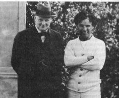 Winston Churchill visiting Charlie Chaplin in Hollywood, 1929