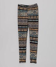 Love this Gold & Gray Geometric Stripe Leggings - Toddler & Girls by LA Sandra on #zulily! #zulilyfinds
