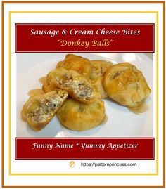 """These sausage and cream cheese bites have a funny name """"donkey balls"""". However, they are packed with flavor and will soon become not only the Recipes Appetizers And Snacks, Cheese Appetizers, Yummy Appetizers, Appetizers For Party, Mexican Appetizers, Party Recipes, Holiday Recipes, Antipasto, Cheese Bites"""