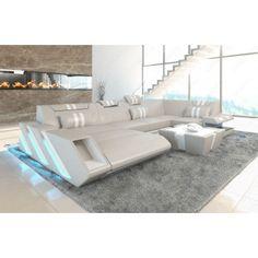 Spectacular Wohnlandschaft APOLLONIA XL mit LED beige weiss