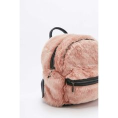 Faux-Fur Mini Backpack ($36) ❤ liked on Polyvore featuring bags, backpacks, miniature backpack, backpack bags, flat bags, handle bag and mini bags