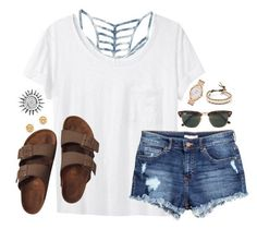 """:)"" by kaley-ii ❤ liked on Polyvore featuring RVCA, rag & bone, H&M, Birkenstock, Ray-Ban, Chan Luu, Kate Spade and Tory Burch"
