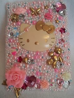 IPAD MINI Hello Kitty Cat Case Flowers Cover Handmade Rhinestones Homemade