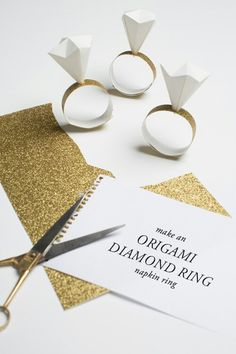 DIY origami diamond ring napkin ring. Great idea for #wedding or #party
