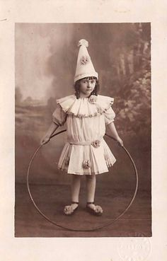 CUTE LITTLE GIRL IN CIRCUS COSTUME WITH HULA HOOP VINTAGE REAL PHOTO POSTCARD