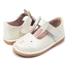 Molly bunny shoes for little girls in white pearl, pair